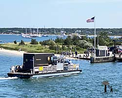 UPS truck aboard the Chappaquiddick Ferry, On-Time II